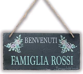 Tavoletta in Ardesia Personalizzabile con Nomi foto ecc, Targa da Parete Famiglia, Accessori Decorativi Casa giardino