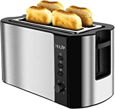 HoLife 4 Slice Long Slot Toaster, Stainless Steel Long Slots Toasters ( Warming Rack, 6 Bread Shade Settings, Defrost/Reheat/Cancel Function, Extra Wide Slots, Removable Crumb Tray, 1300W)