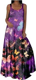 QUINTRA Women Women Dresses Sleeveless Plus Size Casual Bohemian O-Neck Maxi Summer Dress