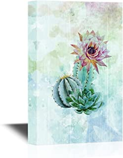 wall26 Canvas Wall Art - Cactus on Abstract Watercolor Background - Gallery Wrap Modern Home Decor | Ready to Hang - 24