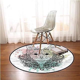 Dining Room Area Rugs Yorkie,Cute Dog Sketch Flowers Print Round Floor Mats Bedroom Carpet 5 ft in Diameter