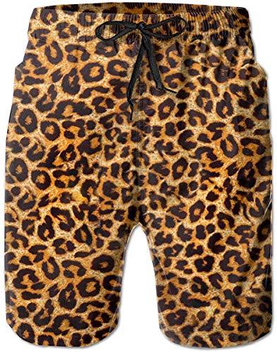 Shorts de Tablero para Hombre con Estampado de Leopardo Animal, bañador de Surf de Secado rápido