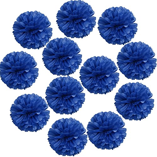 "Landisun Wedding Birthday Party Room Decoration Tissue Paper Flower Poms(10"" Inches (pack of 12), Royal Blue)"