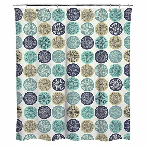 Sunlit Duschvorhang, abstrakte Baumringe, Holz, künstlerischer Stoff, naturfarben, Hellblau / Blaugrün / Beige / Hellbraun