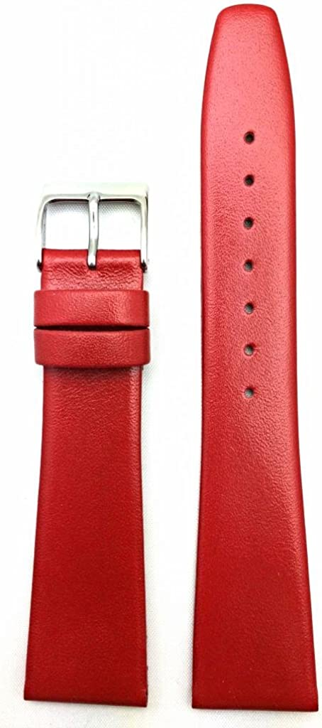 20mm Red Genuine Leather Watch Band W Smooth Replacement Flat Easy-to-use Regular discount