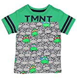 TMNT Teenage Mutant Ninja Turtles Boys Short Sleeve Tee (4T, Grey/Green TMNT)
