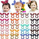CELLOT 40Pcs Cute Baby Hair Ties Bunny Rabbit Ears Hair Bows Elastic Hair Holders for Baby Girls and Toddlers in Pairs