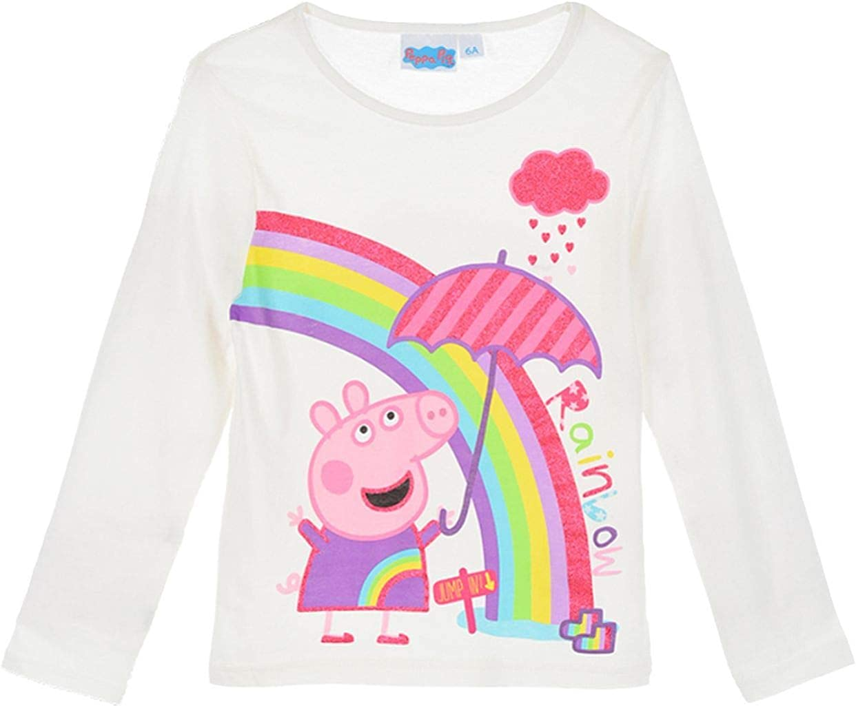 with Glitter 2-6 Years 100/% Cotton Made Peppa Pig Official Girls Long Sleeve Tops T-Shirts