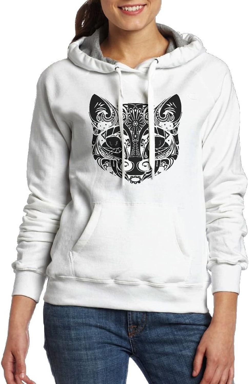 Art Black And White Leopard Womens Geek Long Sleeve Hoodie With Kangaroo Pocket