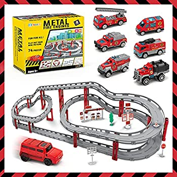 NextX Stem Building City Fire Playset with Vehicle Cars
