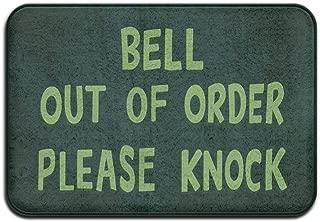 wangsajko Bell Out of Order Please Knock Cool 15.7 x 23.6 in Absorbent Anti Slip Floor Rug Door Mat