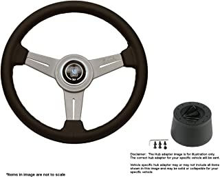 Nardi Classic 330mm (12.99 Inches) Leather Steering Wheel w/White Anodized Spokes and Hub Adapter for Triumph TR-4 Part # 6061.33.1001 + .5101