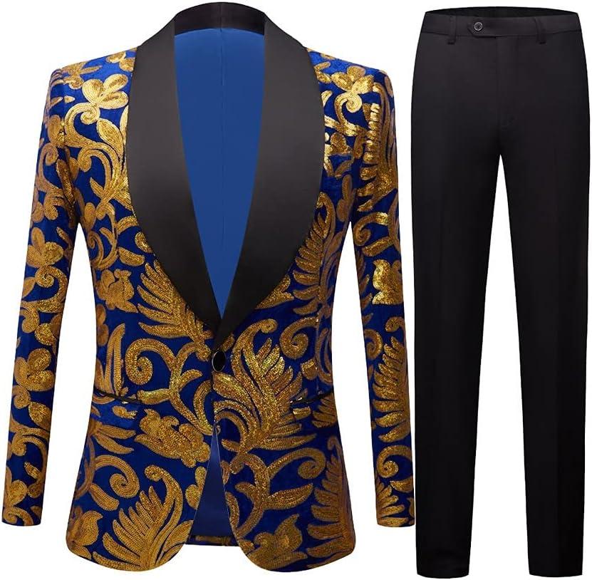 DIAOD Men's Shiny Gold Sequin Glitter Embellished SALENEW very popular! Low price Blazer Ma Coat