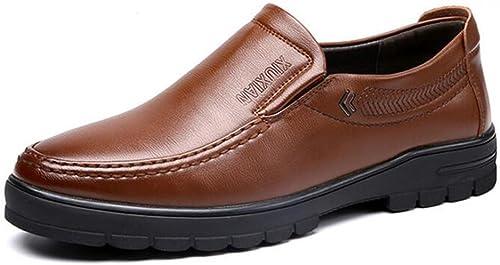 JUJIANFU-Bequeme Schuhe Herren PU Leder Slipper Slip-on Soft Rubber Laufsohle Flats