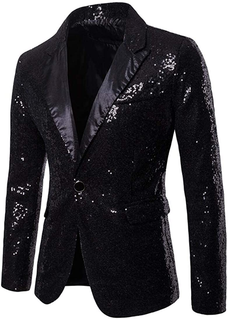 Sequined Men's Black Bazler Slim Fit One Button Suit Jacket Prom Party Coat Black 48/42