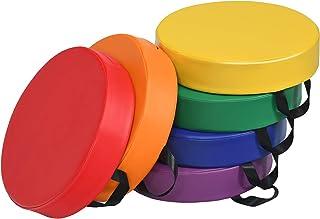 COSTWAY Juego de 6 Pizas Cojines para Niños con Asa y Cremallera Cojines de Suelo Cojines de Asiento Multicolor para Habitaciones Infantiles y Guardería (Redondo)