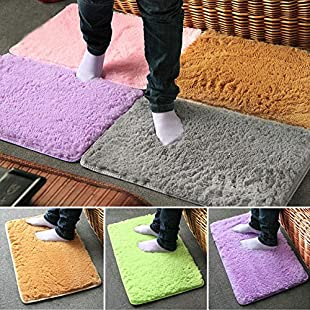 Bazaar 40x60cm Pleuche Non-slip Bedroom Rug Absorbent Dustproof Plush Bath Mat