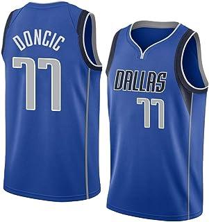 WOLFIRE WF Camiseta de Baloncesto para Hombre, NBA, Dallas Mavericks #77 Luka Doncic. Bordado, Transpirable y Resistente al Desgaste Camiseta para Fan (Azul, S)