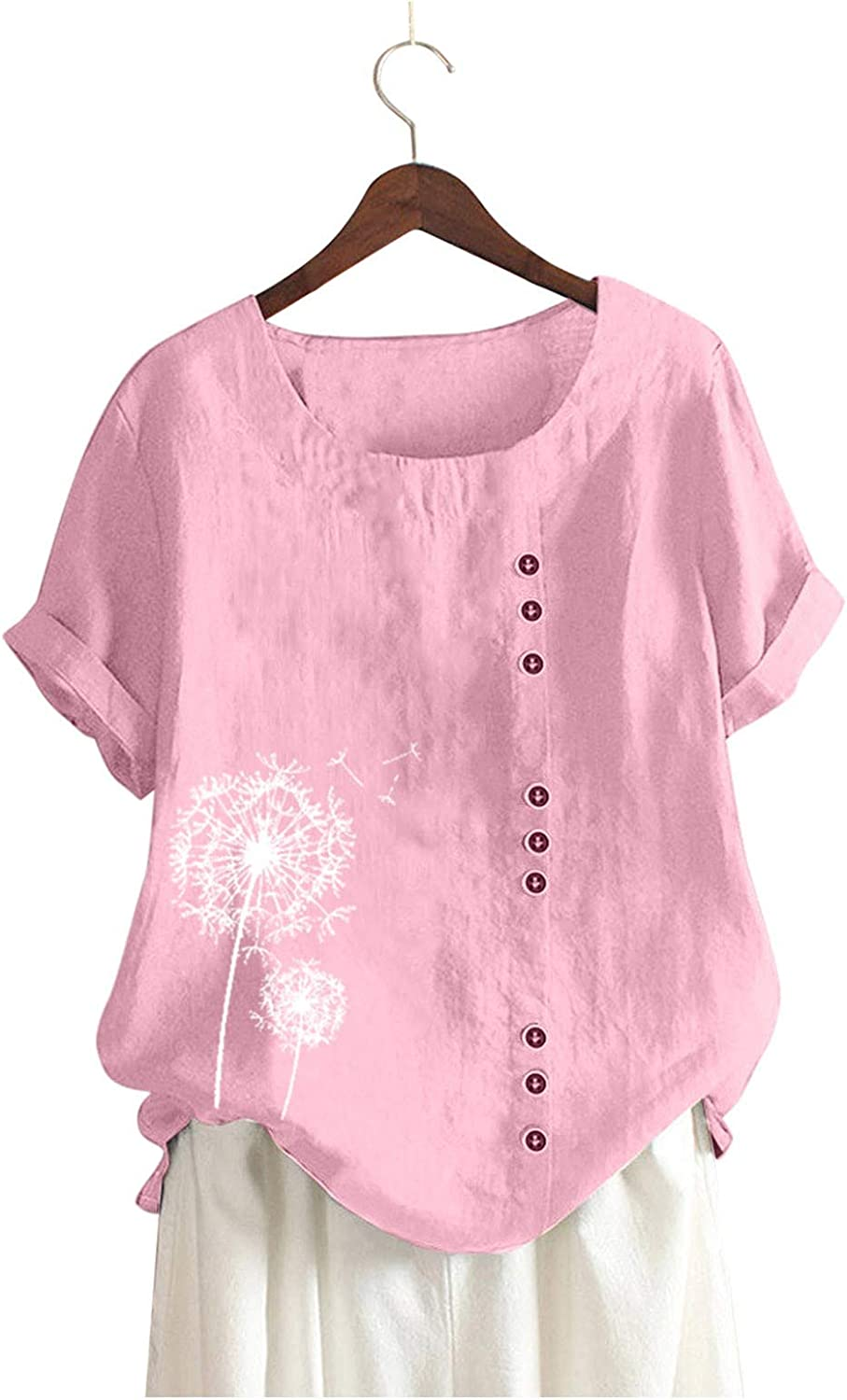 Jaqqra Summer Tops for Women, Womens Short Sleeve Tops Dandelion Button Up O-Neck T-Shirts Loose Blouse Tops Tunic Tee