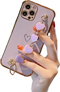 YKCZL Compatible with iPhone 12 Pro Max Luxury Plating Soft TPU Case with Love Heart Chain Bracelet Strap Shiny Pretty Cute Protective Cover for iPhone 12 Pro Max for Women Girl(Purple)