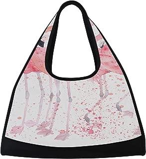 JGYJF Watercolor Flamingos with Splash Dot Paint Custom Tennis Racquet Bag Fitness Bag Tennis Racquet Bags with Pockets Badminton Carrying Bag Racquet Shoulder Bag for Sport Travel Shopping