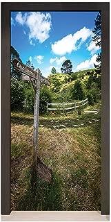 Canvas Door Sticker Removable Canvas Door Mural Door Wallpaper,Home Decor. Hobbits ustic Wooden Sign in Hobbit Land East Farthing Movie Set New Zealand The Shire Green Brown Door Sticker.