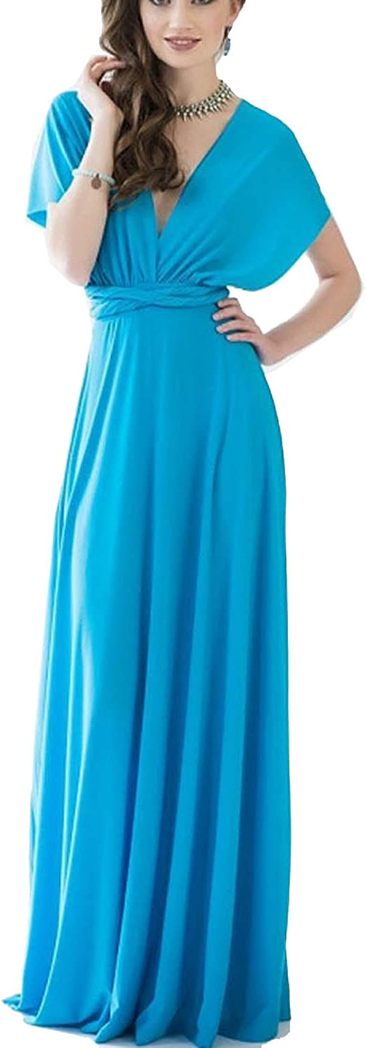 Choies Women's Infinity Gown Dress Multiway Strap Wrap Congreenible Maxi Dress