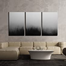 wall26 - 3 Piece Canvas Wall Art - Black Pine Tree Forest Among The Fog Mistery Concept - Modern Home Decor Stretched and Framed Ready to Hang - 24