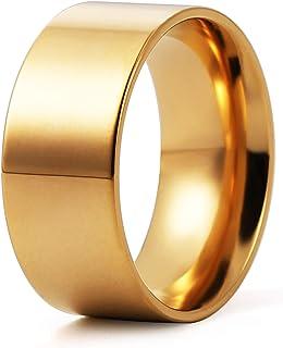 HZMAN 10mm 3 قطع الفولاذ المقاوم للصدأ الرجال النساء زوجين خواتم الزفاف فضي الذهب الأسود بسيطة عالية الراحة تناسب الحجم 6-14
