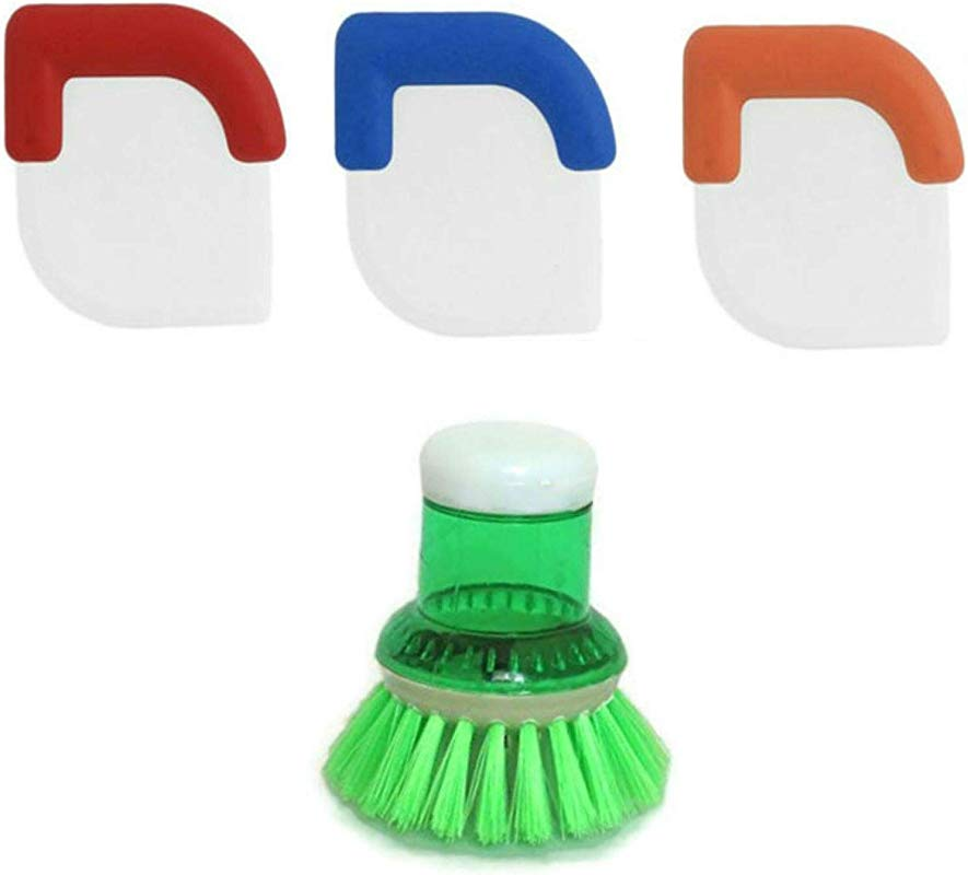 Nylon Plastic Pot And Pan Scraper With Grip Set Of 3 Plus Soap Dispensing Brush Cleaning Kit By BayTree