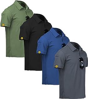 ZITY Mens Polo Shirt Cool Quick-Dry Sweat-Wicking Short Sleeve Sports Golf Tennis T-Shirt 4 Pack GreyBlueBlackGreen-L