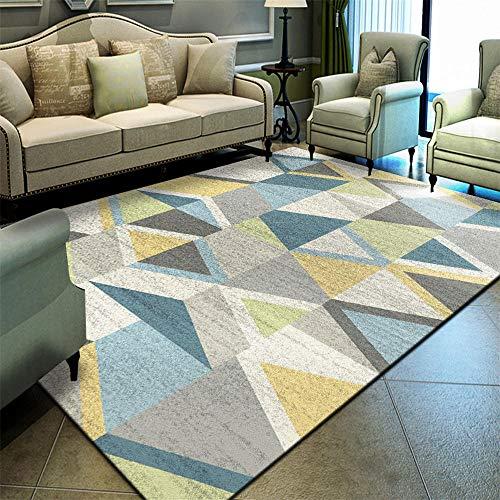 WQ-BBB Kinderteppiche Bunter geometrischer großer Teppich, Kristallsamtteppichoberfläche, graues weißes blaues gelbes Grün-200 * 300cm kibek, pflegeleicht,Kein Geruch,Kurzflor
