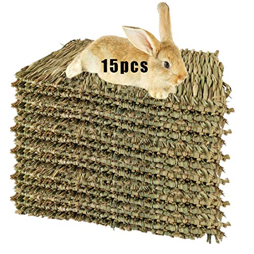 Hamiledyi 15 Pack Woven Bed Mat for Rabbits - Grass Mat & Bunny Bedding Nest - Natural Chew Toy Bed...