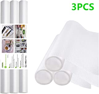 3 Rolls Shelf Liner, Drawer Liner, Cabinet Liner, Non-Adhesive, Waterproof , Non-Slip EVA Mat Transparent for Fridge Drawers, Shelves, Cabinets, Storage, Kitchen, Rug Pad and Desks, White 17.5