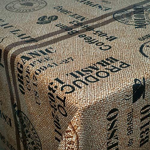 Wachstuch Wachstischdecke Tischdecke Breite und Länge wählbar Kaffeesack Braun Beige 120 x 160 cm Eckig abwaschbar Gartentischdecke