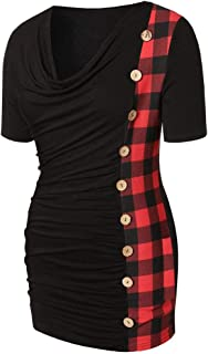 iFOMO 2019 Short Sleeve V-Neck Pleated Plaid Fashion Tunic T-Shirt Casual Top for Women