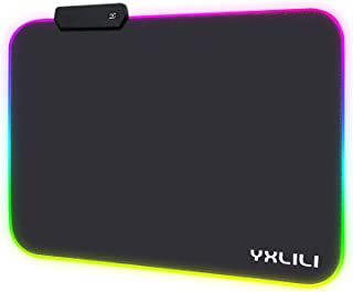 """YXLILI RGB Mouse Pad, Led Gaming Mouse Pads 13.8"""" X 9.8"""" with 12 Lighting Modes, Anti-Slip Rubber Base Mousepads Water Res..."""