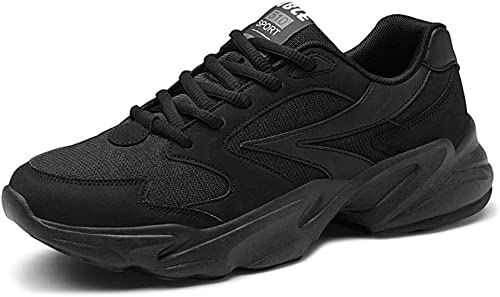 Qiusa Herren Schnürschuhe Atmungsaktive Schuhe Durable Non Slip Comfort Outdoor Laufschuhe (Farbe   Schwarz Größe   EU 43)