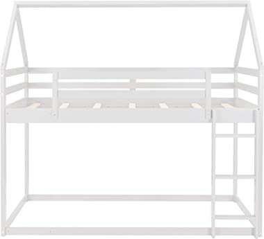 Harper & Bright Designs Low bunk Bed Twin Over Twin , Wood Bunk Beds with Guard Rail for Kids, Toddlers, House Bed with L