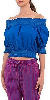 PAROSH Off shoulder Cotton Stretchable Crop Top for Women - Blue/Purple