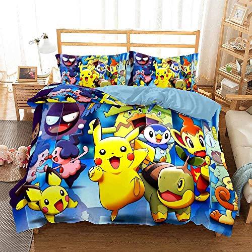 RYHON6 3D-Bettbezug, Bettwäsche Anime Pokémon: Pikachu Polyester 3-teiliges Set-Kissenbezug Einzel Doppel hypoallergen Jungen-Mädchen, Reißverschluss Easy Care Drucken Mikrofaser Po