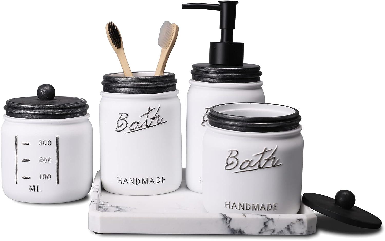 LKKL Mason Jar Bathroom Accessories Set 5 Pcs - Foaming Hand Soap Dispenser & Toothbrush Holder & 2 Apothecary Jars & Vanity Tray - Rustic Farmhouse Decor, Countertop Vanity Organizer - Black