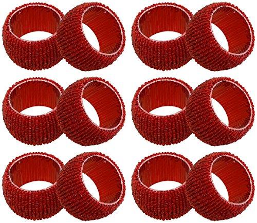 SKAVIJ Rot Glas Perlen Serviettenring-Set für Esstischdekoration Handgemacht (12 stück)