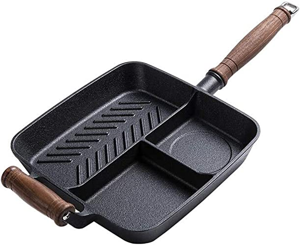 Huaishu Non-Stick en Fonte Petit déjeuner Pot Multi-Fonction Steak Friture Poêle à Oeufs Fond Plat Induction Cooker Ménage 25 cm