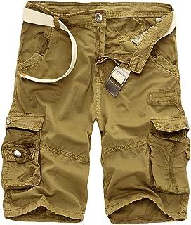 Onsoyours Homme Cargo Bermuda Short Multi Poches Éte Pantalon Court Bermuda de Travaille Casual Imprimé Camouflage Pantalo...