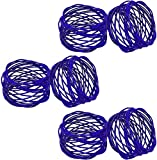ITOS365 Handmade Blue Round Mesh Napkin Rings Holder for Dinning Table Parties Everyday, Set of 6