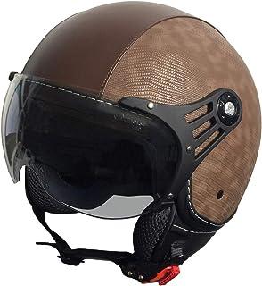 RALLOX Jethelm P01 Retro Braun Kunstleder Motorradhelm Größe XL Sturzhelm Helm Rollerhelm