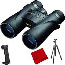 Nikon 7578 Monarch 5 Binoculars 12x42 Bundle with Aluminum Travel Tripod with Ball Head, Binocular Tripod Adaptor and Microfiber Cleaning Cloth