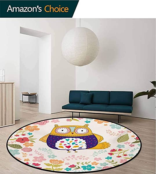 RUGSMAT Owl Carpet Gray Round Area Rug Colorful Bird And Blooming Flowers Ornamental Doodles With Vintage Design Inspirations Pattern Floor Seat Pad Home Decorative Indoor Diameter 35 Inch