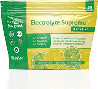 Jigsaw Health - Electrolyte Supreme - Broad Spectrum of Electrolytes + Trace Minerals - 60 Servings (Lemon Lime, Packets)